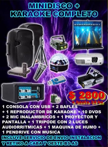 alquiler karaoke minidisco completo sonido luces proyector