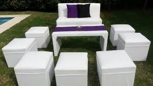 alquiler living puf mesas sillas vajilla manteles calefactor