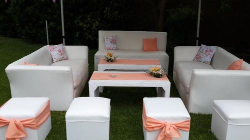 alquiler living puff mini puff butacón sillón camastro mesas