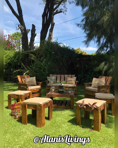 alquiler livings rustico. madera, hierro, arpillera zona sur