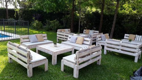 alquiler livings rusticos madera, guirnaldas y ambientación