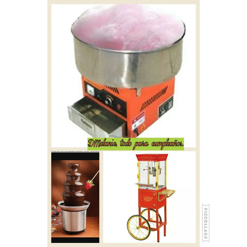 alquiler maquinas de palomitas, algodón, fuente chocolate.