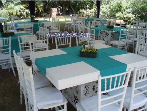 alquiler mesas de madera, vidrio sillas acrilicas sombrillas