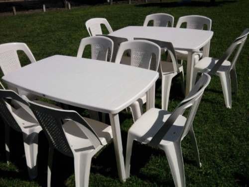 alquiler mesas y sillas plásticas /