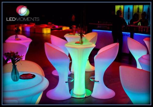 alquiler muebles led barras cubos mesas esferas cotillón puf