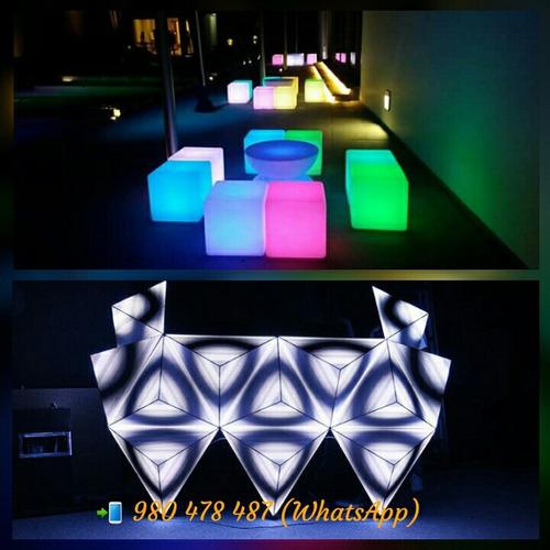 alquiler muebles led, lounge, pista de baile led, salas led
