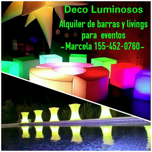 alquiler muebles luminosos barras puffs livings led fiestas