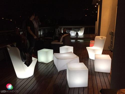 alquiler muebles luminosos led living cubos fiestas eventos