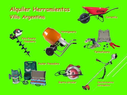 alquiler pala pocera hoyadora o hormigonera, villa argentina