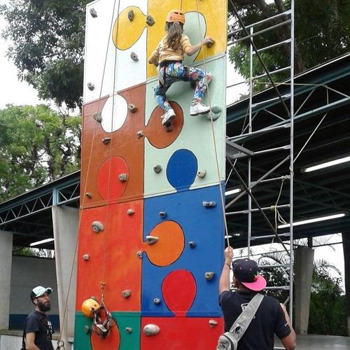 alquiler pared de escalar, tirolina, trampolin, ligas bungee