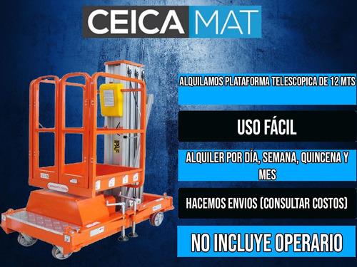 alquiler plataforma elevadora 12 mts telescopica personal