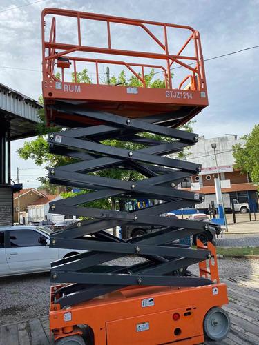 alquiler plataforma tijera elevacion, por hora, dia, semana