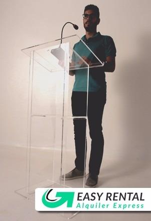 alquiler podio estrado atril conferencias sonido proyector
