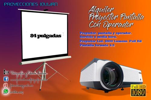 alquiler proyector pantalla con operador