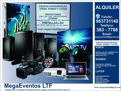 alquiler proyectores ecran tv lcd pantalla led sonido luces
