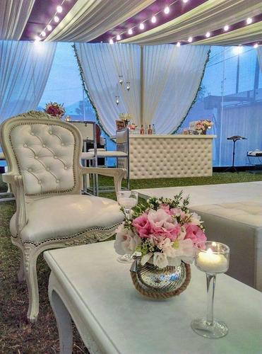 alquiler salas lounge, mesas cuadradas, sillas, toldos