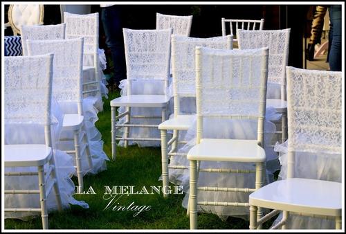 alquiler sillas tiffany blancas  /fundas de encaje glam