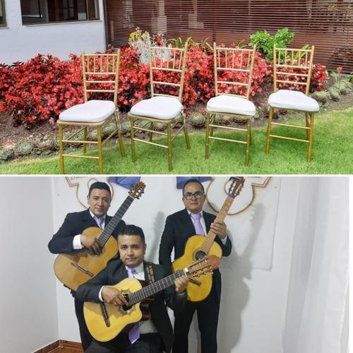alquiler sillas tiffany, serenatas de trio, tifany, cuerda