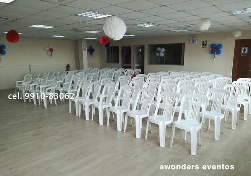 alquiler sillas y mesas plásticas para eventos