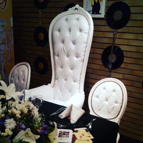 alquiler sillón princesa blanco quinceañera  colonial alto