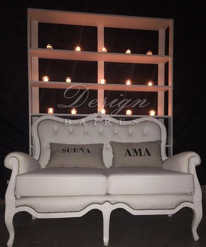 alquiler sillón princesa - letras luminosas - mesa espejada