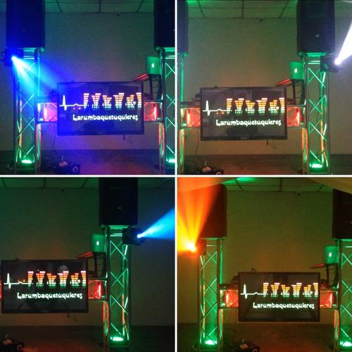 alquiler sonido, iluminación, robotica karaoke, discplay djs