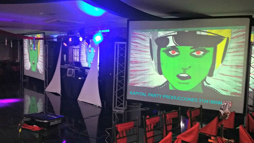 alquiler sonido luces led neon bingo video beam rompecielos