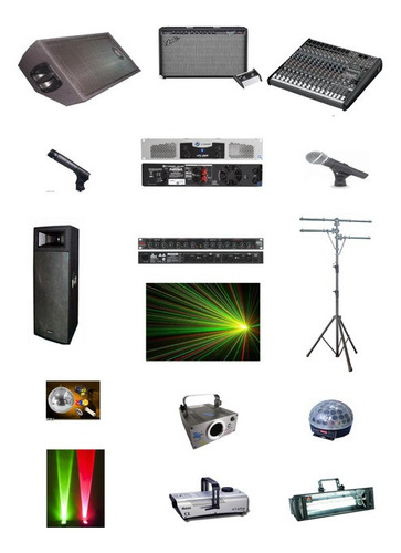 alquiler sonido, luces, máquina humo,  bola de espejo láser