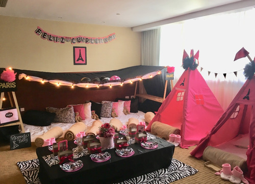alquiler teepee party, spa party pijamada party