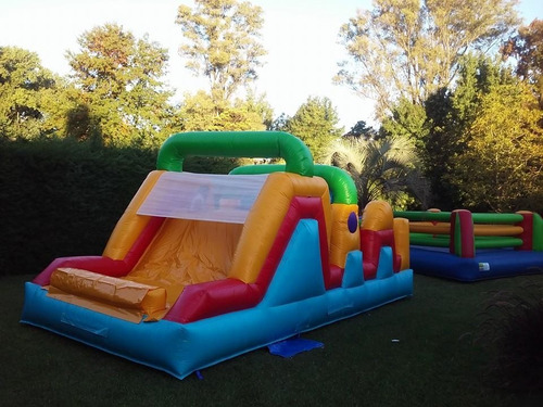 alquiler toro -inflable obstaculos ring tobogán plaza blanda