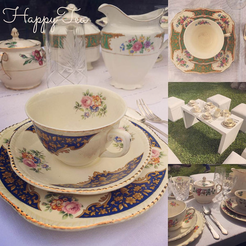 alquiler vajilla antigua, vintage, tea party, mesa dulce