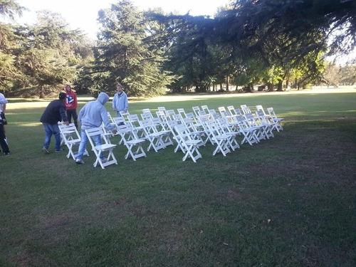 alquiler vajilla manteleria mesas sillas livings zona sur