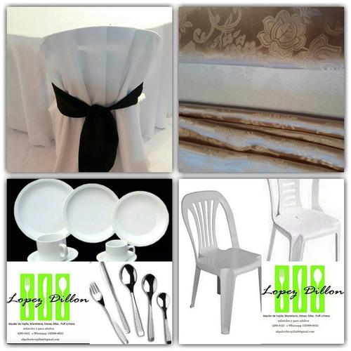 alquiler vajilla, manteleria, sillas,