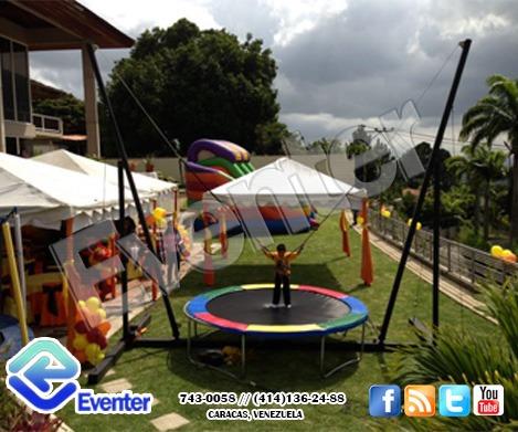 alquiler venta  bungee trampolin, pared de escalar, tirolina