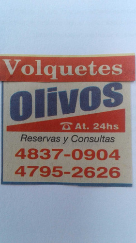 alquiler volquetes en olivos,martinez,carapachay,san isidro.