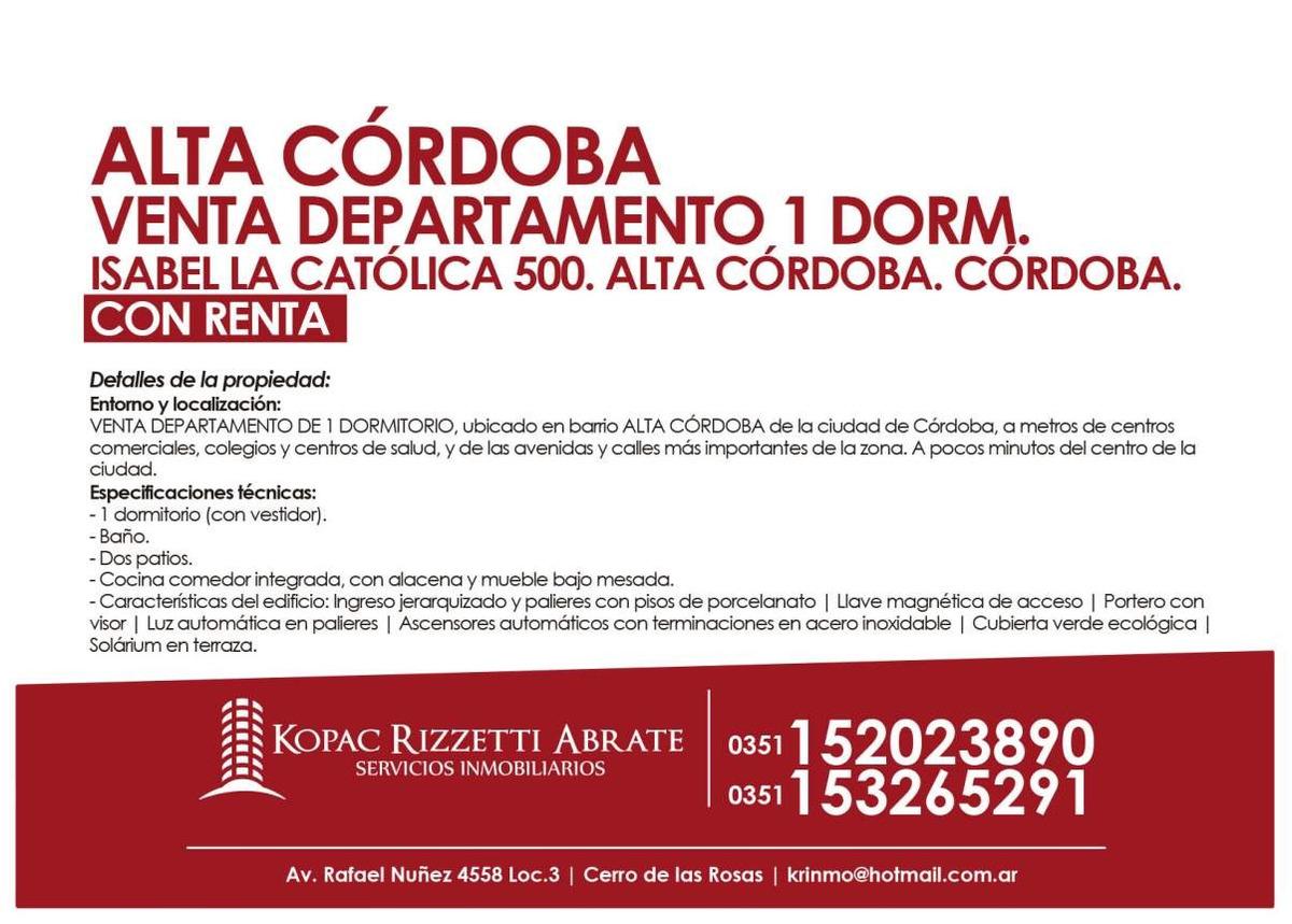 alta córdoba (i. la católica 500) - venta departamento 1 dorm.