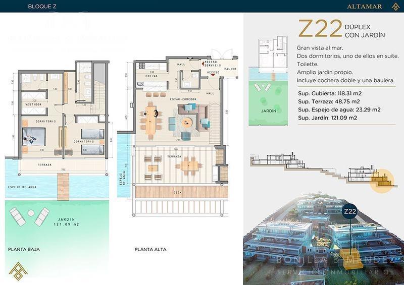 altamar, 2 dormitorios, 2 baños, toilette, 2 cocheras, jardín, espejo de agua, febrero 2020!!