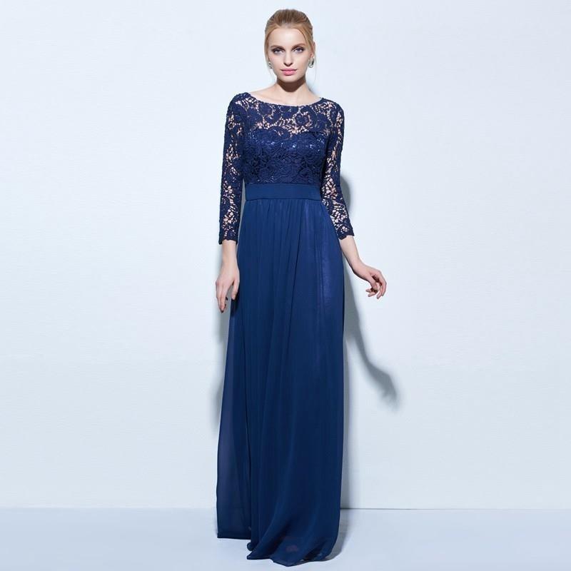 Vestido de renda azul para formatura
