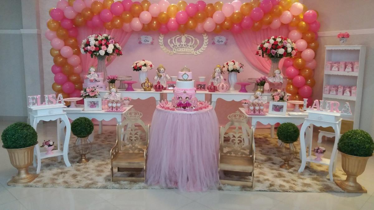 Aluguel Decoraç u00e3o Aniversário Bonecas Princesas Realeza R$ 839,90 em Mercado Livre -> Decoração De Festa Infantil Realeza Luxo