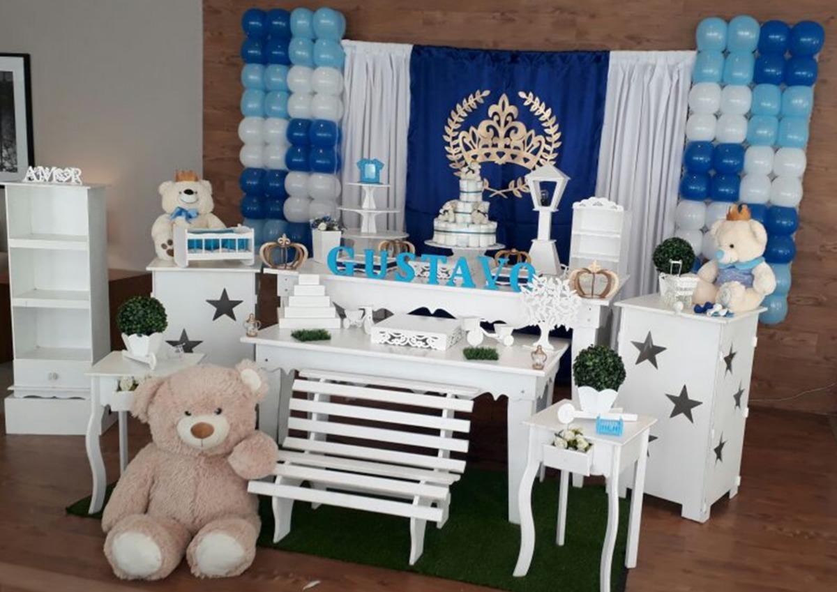Aluguel Decoraç u00e3o Chá De Beb u00ea Menino Urso Príncipe Opç5 R$ 690,00 em Mercado Livre -> Decoração Cha De Bebe Tema Urso