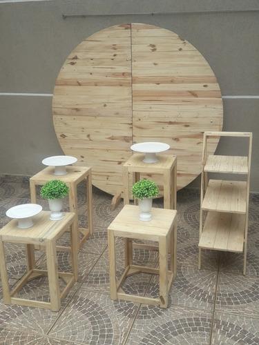 aluguel kit palete, mini table e rústico