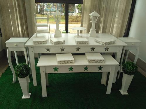 aluguel mesa rústica, branca, mesa provençal, decoração