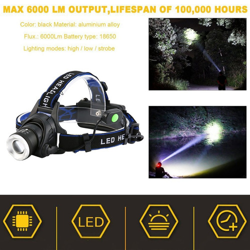 alumínio 2000 lumens xm - l t6 led 18650 zoomable farol far