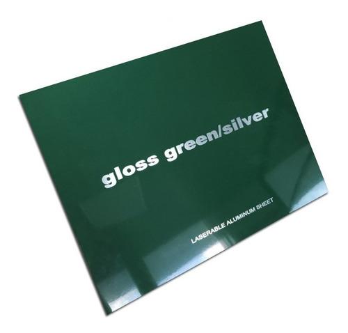 aluminio bicapa laserables 0,45mm x4 unidades verde / plata