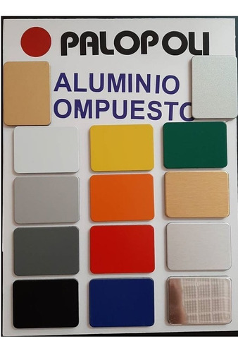 aluminio co.gris azul amarilo rojo blanco palopoli acm 4mm