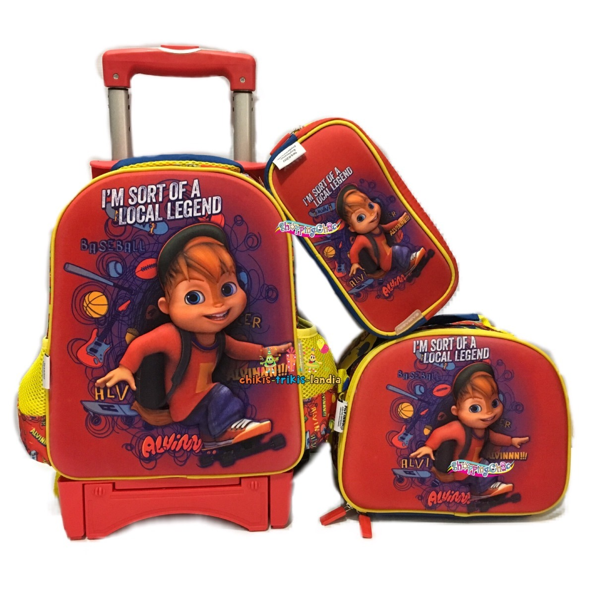 Alvin Ardillas Kit Mochila 3d Kinder Carro Lapicera Lonch