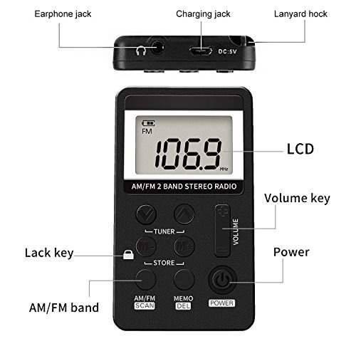 am fm radio de bolsillo, sintonización digital portátil am/f