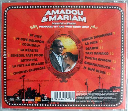 amadou & mariam - dimanche a bamako - cdpromo con manu chao