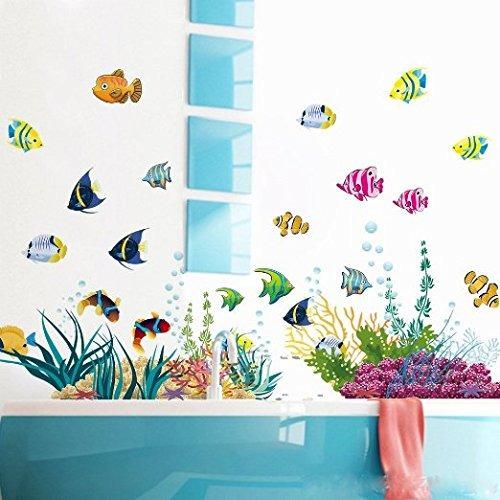 amaonm® diy extraíble bajo el mar adhesivos de pared blue g