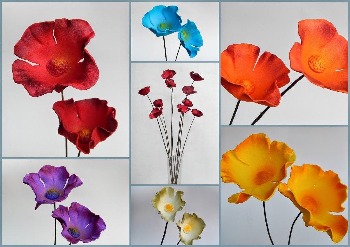 Amapolas Ramos De 15 Flores Grandes En Foami Varios Colores 400